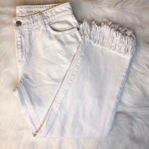 Pilcro & The Letterpress Frayed White Jeans